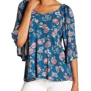 🆕Bobeau Floral Print Knit Flutter Slv Tie Back XS